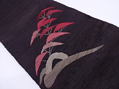 ANTIQUE JAPANESE NAGOYA OBI FOR KIMONO, BEAUTIFUL CRAFT MATERIAL, BROWN, SILK