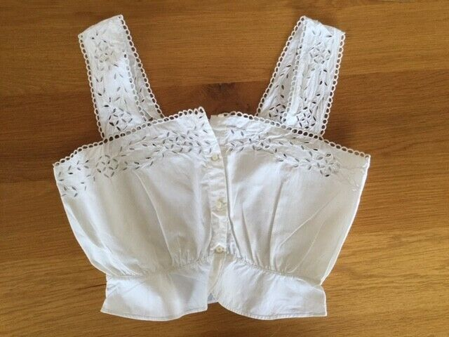 Antique French lace Bodice / Camisole, filet lace, open works