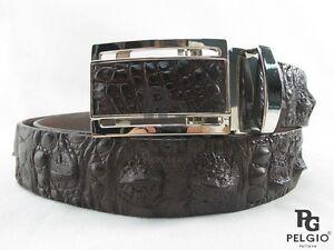 PELGIO Genuine Crocodile Alligator Head Bump Skin Leather Men's Belt 46