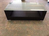 COFFEE TABLE - Black Rattan Weave (Aluminium Frame) Tempered Glass Top - 110x60cm