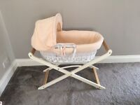 KINDER VALLEY PEACH on WHITE WICKER MOSES BASKET with MOTHERCARE LUXURY STAND & BEDDING