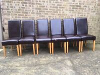 6 Dining Chairs, free, solid oak, Leather. Good reupholster project.
