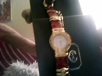 Ladies Philippe Charriol watch leather strap safety chain