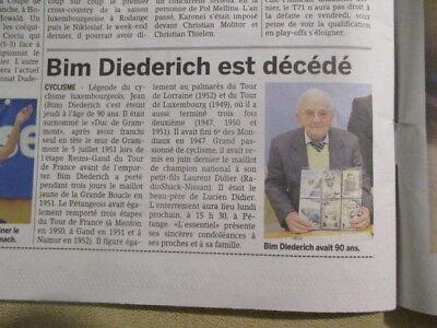 VELO : JOURNAL DU DECES DE : BIM DIEDERICH 07/12/2012 - L'ESSENTIEL