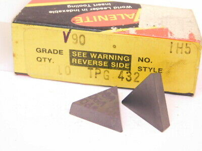 New Surplus 10pcs. Valenite Tpg 432 Grade V90 Carbide Inserts