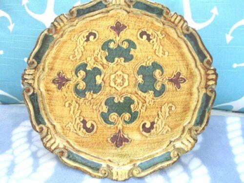 Green Gold Vintage Italian Florentine Tole Wood Designer Serving Tray Plate