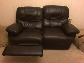 100% leather 3+2 seater sofa with recliners (x4 recliners). Excellent condition - hardly used.