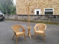 2 Comfortable Wicker Arm Chairs - Armchairs Hat & Coat Stand . Good Condition, Free Local Delivery