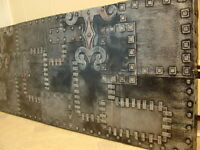 Funky Black & Silver Hammered Panel Headboard