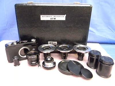 Vintage Nikon M-35s Microscope Camera Afm Automatic Microflex Accessories Kit