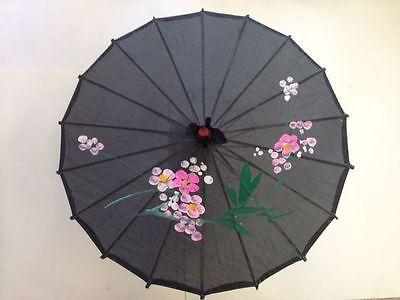 CHINESE JAPANESE DECORATE  BLACK FABRIC PARASOL UMBRELLA 32