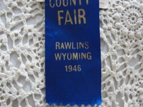 "1946 Rawlins WY Carbon County Fair Blue Ribbon Crocheted Tablecloth 74""x54"" Nice"