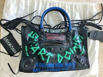 Balenciaga Small City Graffiti Lambskin Leather Tote Black Multi Bag Handbag New Black Lambskin Leather Tote