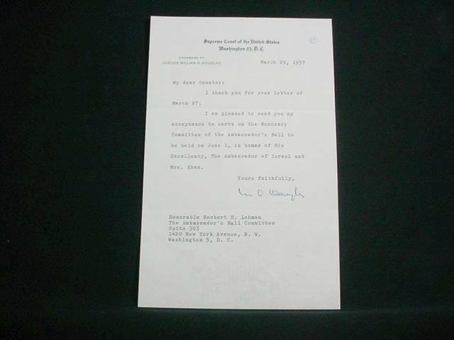 NobleSpirit {3970} US Supreme Court Justice William O. Douglas Sig on Letter