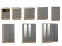 GET YOURS TODAY New high gloss GREY bedroom furniture range from £49-£299