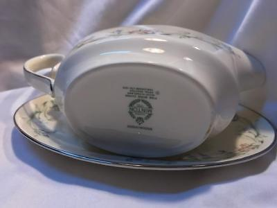 Minton Brookwood Fine Bone China Platinum Trim Gravy Boat Set by Royal Doulton