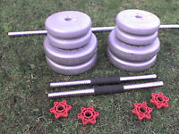 75 lb 34 kg Grey Spinlock Dumbbell & Barbell Weights + a FREE Long Bar