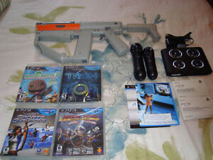 PLAYSTATION 3 PS3 MOVE CONTROLLERS, GUN, GAMES, CHARGER