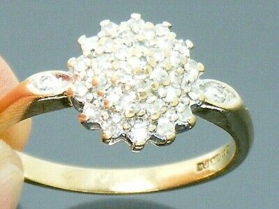 9ct Gold 0.33CT Diamond Hallmarked Cluster ring size P