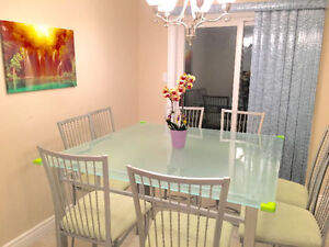 MODERN GLASS DINING HEIGHT TABLE SET 9 PIECE