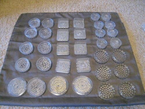 34 Vintage Plastic Furniture Leg Coasters Carpet Protectors Dresser Couch
