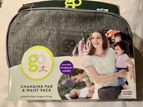 GO by Goldbug Changing Pad and waist pack carrier Diaper Travel Gray Fanny Pack