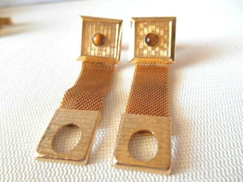 Vintage Goldtone & Tan Wrap Around Cufflinks