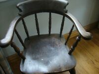 CAPTAIN'S / SMOKER'S MAHOGANY CHAIR, STURDY JOINTS, ALL COMPLETE HEAVY ITEM