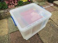64Lt Really Usefull Box Clear Plastic with Blue Locking Handles