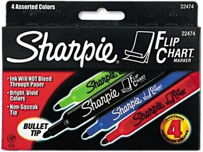Sharpie Flip Chart Markers Bullet Tip Assorted Colors Set Of 4