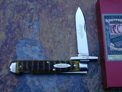 QUEEN ROBESON SHUREDGE TAN BON SWING GUARD CHEETAH LOCKBACK KNIFE RARE 1/200 MIB
