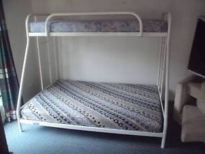 BUNK BED.  DOUBLE WITH SINGLE ON TOP WITH MATTRESSES. GOOD CON Munruben Logan Area Preview