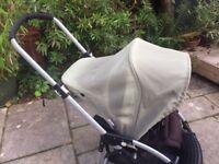 Bugaboo Bee stroller, khaki, works fine but hood won't fasten.