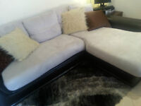 Brick Leather + Microsuede L Shaped Sectional Couch Sofa set
