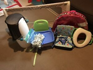 Booster seat, diaper genie, safety items, toys, bed rail, etc