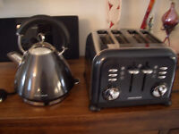 Black Morphy Richards Kettle, Toaster and Bread Bin
