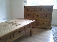 Merchant chest of drawers and coffee table- corona pine