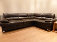 Brown leather corner sofa.