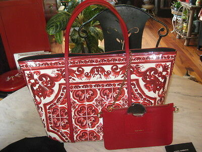 NWT Dolce & Gabbana Red & White Majolica All Leather Tote Handbag Shopper