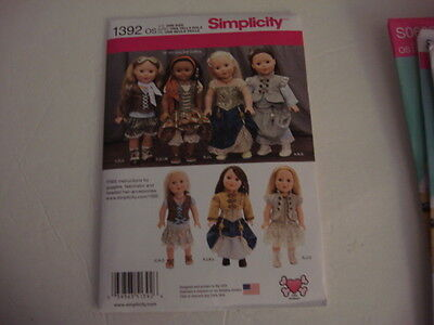 """New Simplicity Pattern 1392  Steampunk Style 18"""" American Girl  Doll Clothes"""