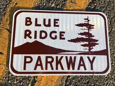"Blue Ridge Parkway Road Sign 18""x12"" - UNUSED DOT specs - traffic route highway"