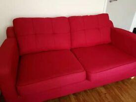 DFS 3-Seater Sofa , Red,ScotchGuarded ,Smoking and Pet Free