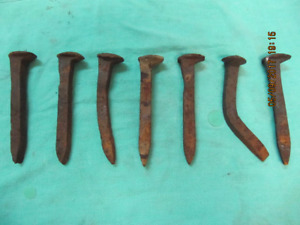 "VintageClassic Lot Of 6"" Solid Iron RailRoad Tie Spikes 1900s"