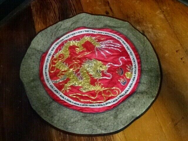 Vintage Hand Crafted ASIAN CHINESE Embroidered SILK Dragon Linen - $5.00