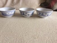 New 3 Chinese Bowls white with blue design