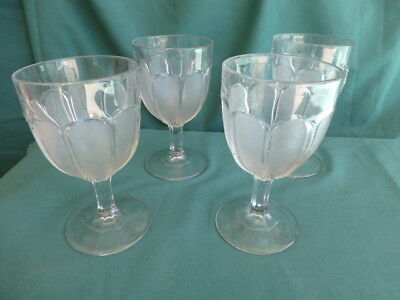 Four Marquisette Early American Pattern Glass Goblets for sale  Shipping to Canada
