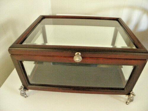 "2000 Bombay Co. Glass Wood Display Box w/ Hinged Lid Pewter Elephant Feet 13"""