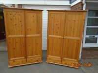 2 pine double wardrobes, with top boxes.