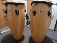 Pulse Wooden Percussion Congas Full Size Set Including Carry Bags