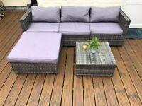 Grey Rattan 4 Seat Corner Sofa Set
